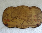 Vintage Pyrography Lady's Profile and Cherries Burnt Wood Tie Rack
