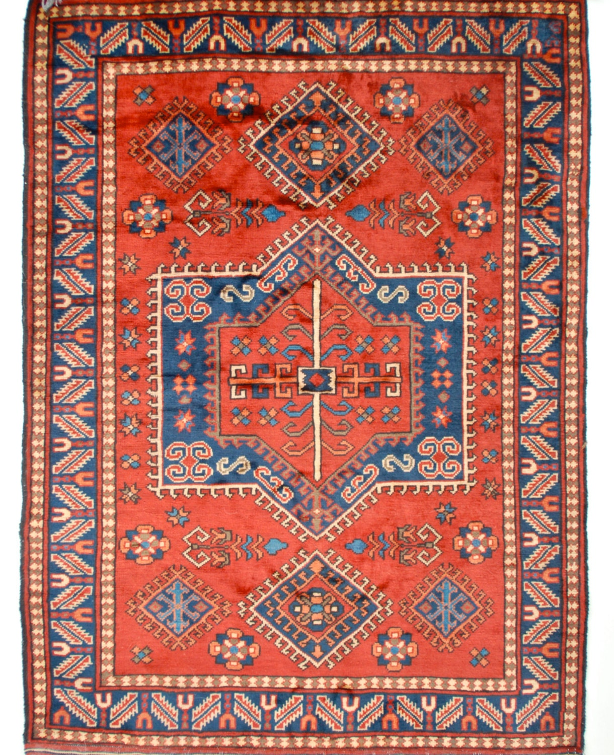 Handmade Turkish Rug Geometric Medallion Red And Blue Wool 5