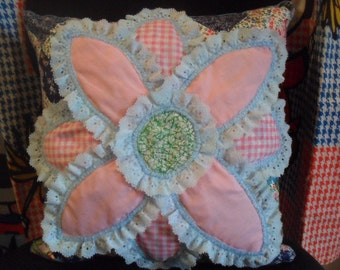 Clearance/Pillow / Pink Flower / Blue Lace / Blue Edge / Throw Pillow