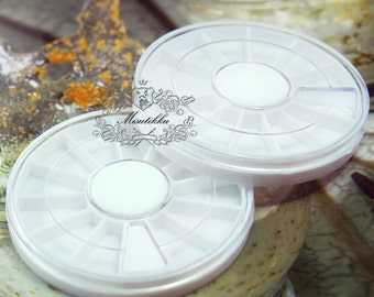 2 PCS of 12 Compartments 60mm Empty Round Rhinestone Wheel Plastic Storage Small Container Boxes Organizer Beads Pearl Nail Art Wheel SP.RBS