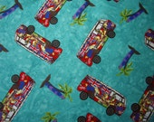 Campervan Turquoise Blue Cotton Fabric Hippy Surf VW Camper Van Fat Quarter