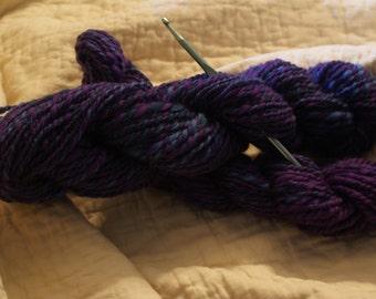 "Price Reduced ** 2 Hanks Handspun Wool Yarn-""Passionately Purple""-2 ply"