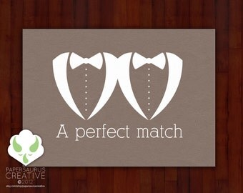 Greeting card: Your perfect match — gay marriage, LGBT wedding