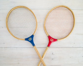 reserved for crystal - vintage wooden badminton racquets