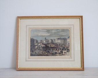 vintage framed print covent garden market about 1820