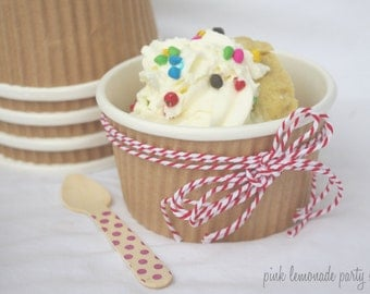 10 SMaLL KRaFT RuFFLe CUPS WiTh DiY LaBeLs-8oz-Party Favors--Crafts-Ice Cream-soups, 10ct
