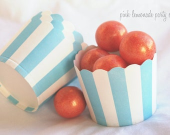 Small blue with white wide stripe-Nut/Candy/Baking Cups--25ct--Parties--cupcakes-gumballs-snacks