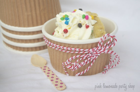 20 SMaLL KRaFT RuFFLe CUPS WiTh FRee DiY LaBeLs-8oz-Party Favors--Crafts-Ice Cream-Showers-Weddings- 20ct