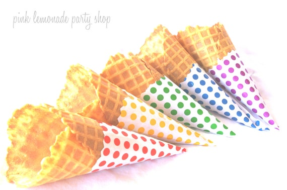25 Cone bags for diy ice cream cone jackets--or treat cones---Cut to fit waffle cones---use bags as party favors--