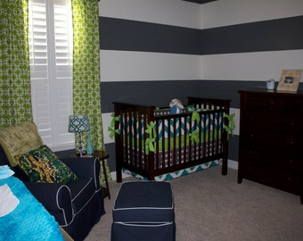 Custom Turquoise, Gray, and Lime Crib Bedding