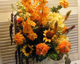 Tall Grecian Urn with Golden and Orange hues, Entry Way Arrangement, Commercial Size Arrangement with Amaranthus, Hydrangea, Stock,