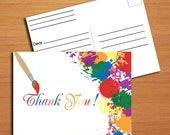 Painting / Artist Thank You Card with Postcard Back PRINTABLE DIY