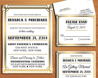 Great Gatsby / Roaring 20's Wedding Collection / Invitation / RSVP / Save the Date Postcard PRINTABLE / DIY