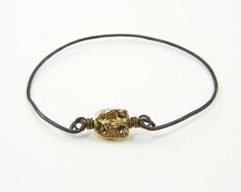 Tribal Bangle Bracelet, Brass Wire Bracelet, Brown Gold Bangle Stacking Jewelry