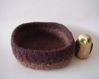 felted wool bowl container treasure dish  square shades of brown