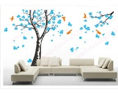 Magnolia Tree Wall Decal wall sticker kids decal flower decal room decor nature wall decor  graphic mural   -Magnolia Tree with Birds