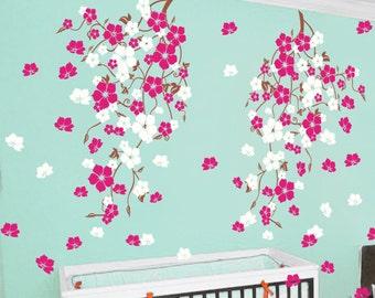Vinyl decals Nursery wall decals kids wall decals baby nursery decals pink white girl wall art- Cherry Blossom vines