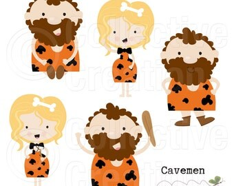 Little Cavemen Digital Clip Art - Personal and Commercial Use