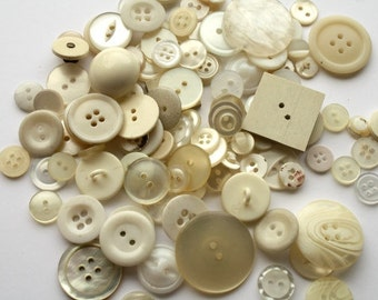 100 VINTAGE and recycled white, shell, cream buttons