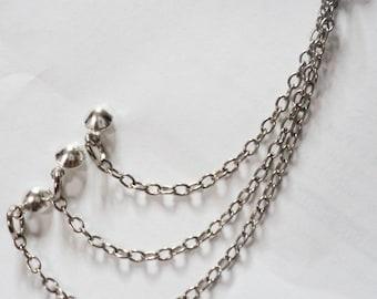 Beautiful Multiple Stud Triple Chain Earring