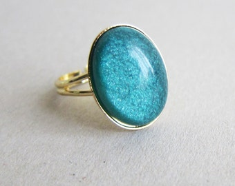 Teal Ring Aqua Ring Faux Fire Opal Ring Gold Ring Sea Green Dark Green Emerald Simple Modern Oval Statement Ring