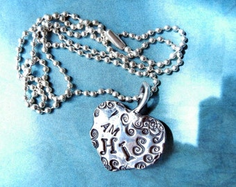 I am His, Song of Solomon 2:16, Fine Silver Drop Heart Necklace, Christian Silver Heart says I Am His