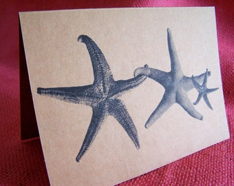 Family of Three Starfish Seastars Holding Hands Set of ANY 3 Greeting Note Cards Invitations Kraft Cardstock matching envelopes 5 x 7""