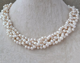 Pearl Necklace,18 Inches 4 Rows 5-6mm ivory Genuine Fresh Water Pearl necklace,Wedding Pearl Necklace, choker pearl necklace,rearl pearl
