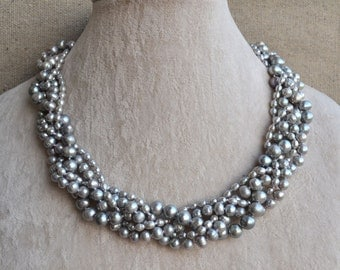Gray pearl necklace,5 rows18 inches 3-8mm gray freshwater pearl necklace,wedding jewelry.wedding party jewelry,pearl necklace,women necklace