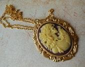 Skull Female in Ivory and Burgundy on Golden Chain