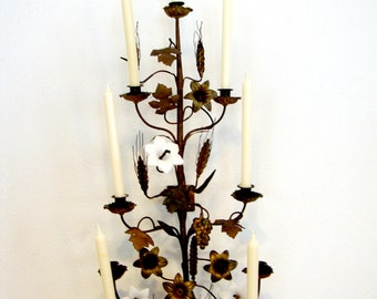 Vintage Extra Large Brass and Milk Glass Wall Candelabra