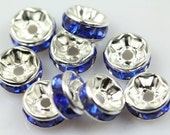 20 Blue rhinestone rondelle spacer beads 8mm  DB27633