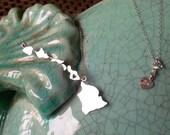 Hawaiian Islands, Hawaii Necklace, Heart in the Hawaiian Islands Chain Necklace handmade in Sterling Silver or 14K gf by Sparrow Seas