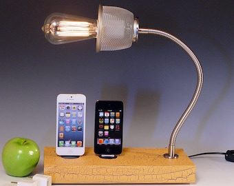 Docking stations and chargers. Half price sale! Double dock for ANY iPhone/iPod AND table lamp. Reclaimed wood & goose neck lamp.  (461)