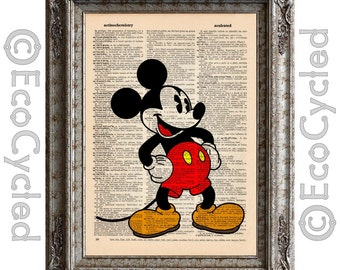 Classic Mickey Mouse on Vintage Upcycled Dictionary Art Print Book Art Print Disney bookworm gift