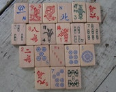 on sale mah jongg tiles wooden tiles 20 tiles jewelry supplies mixed media chinese characters