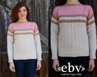 Vintage Sweater Vintage Jumper Vintage Knit Boatneck Sweater Vintage 80s Boatneck Ski Sweater Jumper S M L Pink Sweater