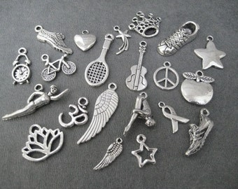 Add ONE (1) PEWTER Charm to your Necklace or Wrap Bracelet or Ornament - See Listing Details for Available Charms