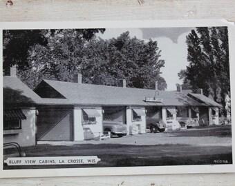 Bluff Lake Cabins, La Crosse WI Postcard Vintage
