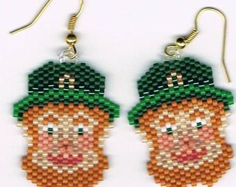 Hand Beaded  Leprechaun earrings