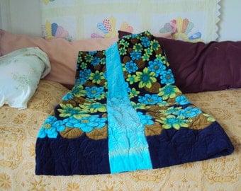 REDUCED  Vintage Velvet Quilted Floral Skirt For Fabric