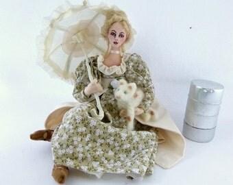 Stray art doll cloth victorian girl fabric umbrella needle felt calico cat