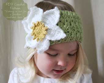 Crochet Pattern: The Viola 2 Way Warmer -Toddler, Child, & Adult Sizes- headband, large flower, magnolia