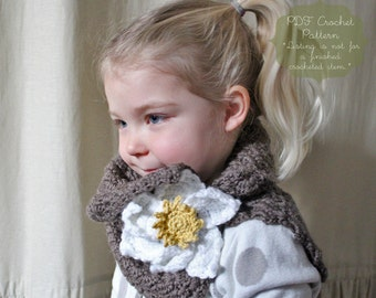 Crochet Pattern: The Belle Cowl Scarf -Toddler, Child, & Adult Sizes- magnolia, scarf, button, flower, sweet