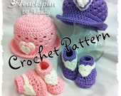 CROCHET PATTERN to make this Sweet Hearts Baby Hat and Bootie Set in 3 sizes, PDF Format.  Shape brim to wear different ways.