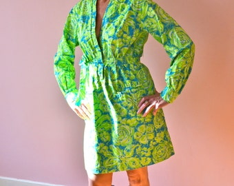 1960's Lilly Pulitzer Mod Lime Green Mini with Sash.  Cotton Fabric.   VDS27