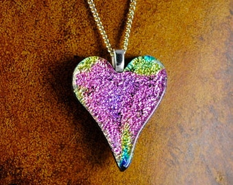 Heart Pink Fused DIchroic Glass Heart Pendant