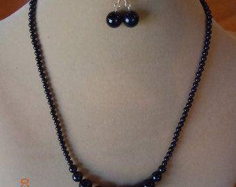 Black Onyx Necklace & Earrings Beaded Gemstone Jewelry Set  with Gold-plated Magnetic Clasp (40)