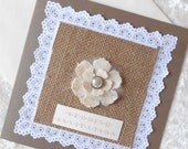 Reserved Listing for Caroline Rustic Wedding Invitation with Burlap Hessian x 5 (Ref 152)