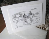 Card - Love - Luxury Greeting Card - Engagement Card - Couple and Heart Line Drawing on Beach  - Line Art Drawing